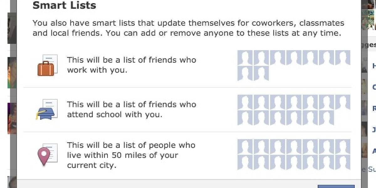 "Facebook implementa ""listas inteligentes"" para agrupar a tus contactos"