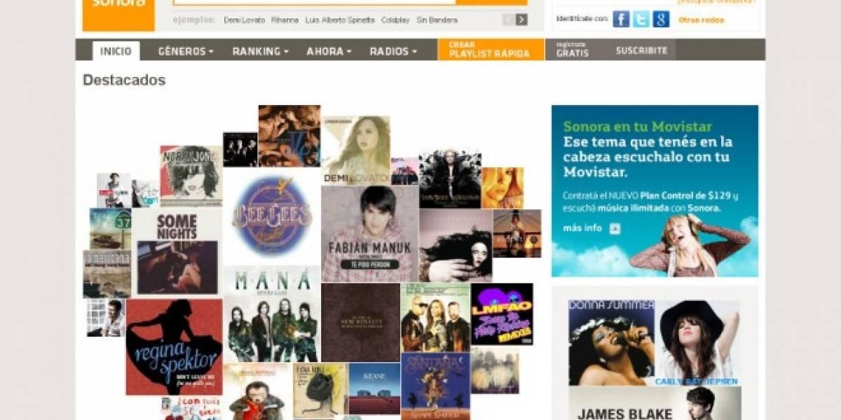 Argentina: Movistar y Sonora lanzan servicio ilimitado de música por US$8 mensuales