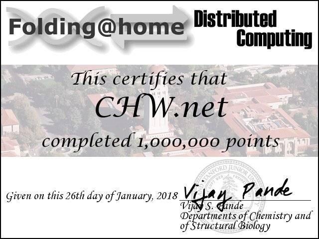CHW pasa el millón de puntos en F@H