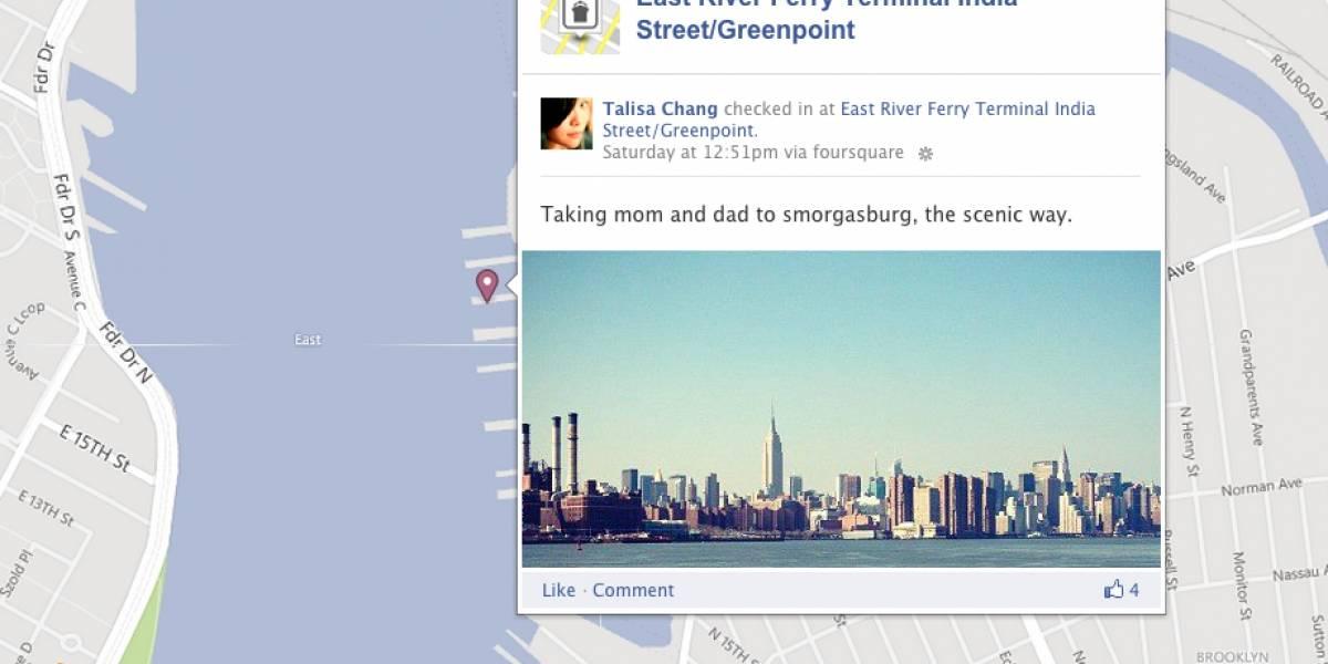 Foursquare permite integrar nuestros check-in en el mapa del Timeline de Facebook