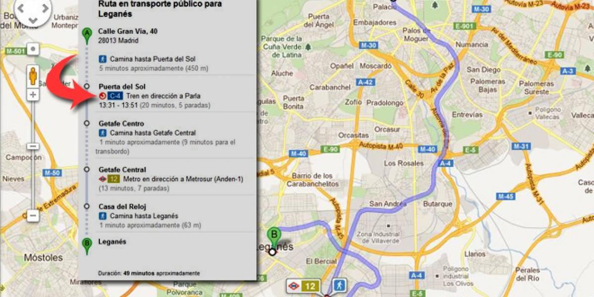 España: Las estaciones de cercanías de Madrid en Google Transit