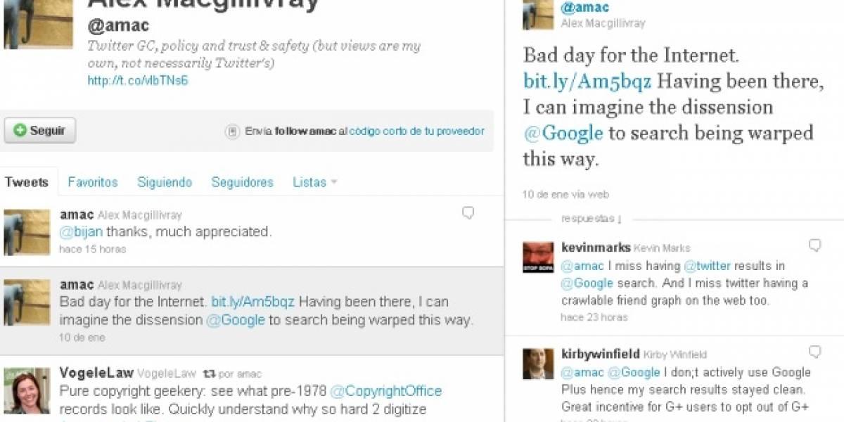 A Twitter no le agradó el cambio en el algoritmo de búsquedas de Google