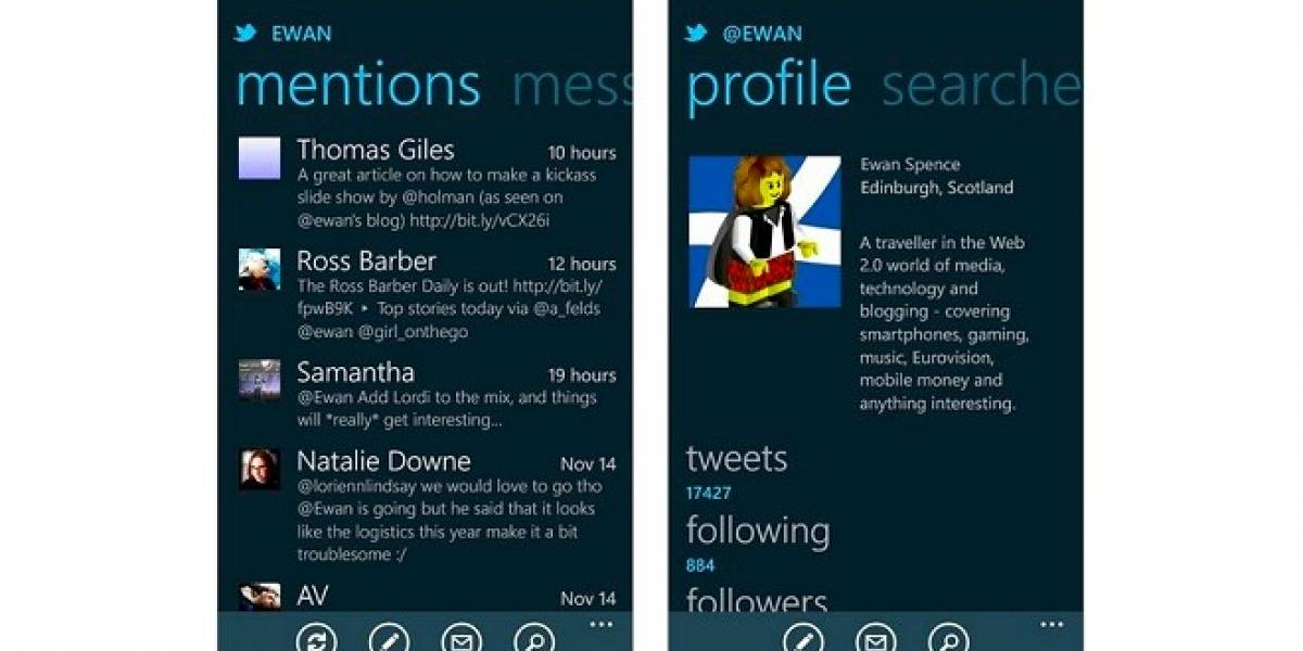 Twitter para Windows Phone Mango recibe actualización