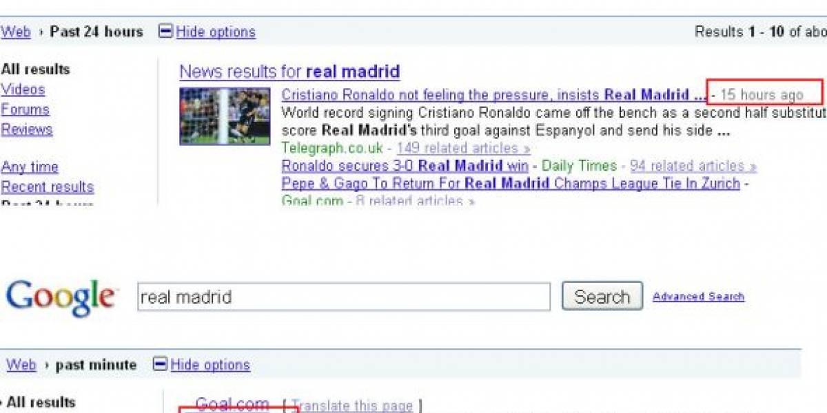 Google permite buscar en tiempo real