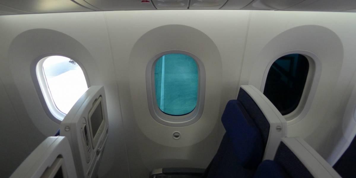 El Boeing 787 Dreamliner tiene ventanas que se apagan