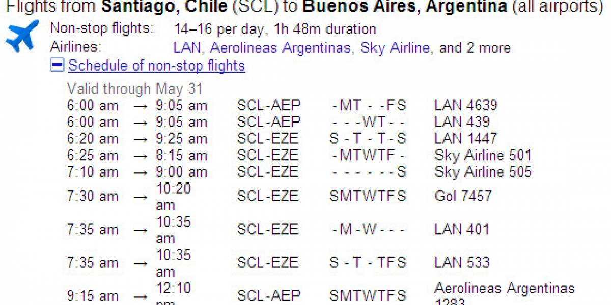 Google agrega resultados de vuelos a sus búsquedas