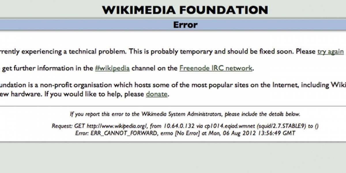 Wikipedia está temporal y parcialmente fuera de servicio [Actualizado]