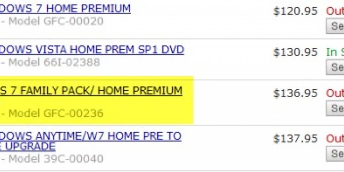 Windows 7 Anytime Upgrade y Pack Familiar tienen precio