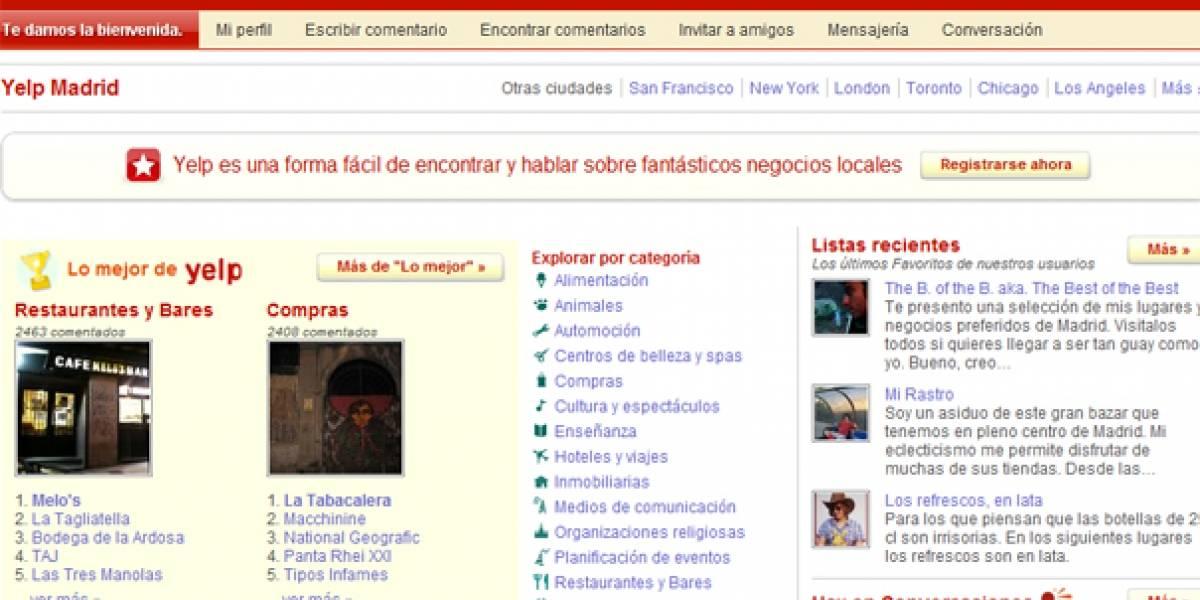 Yelp lanza su versión española