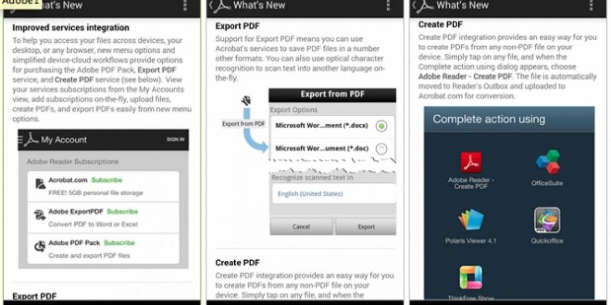 Adobe Reader para Android ahora permite la conversión de archivos .PDF