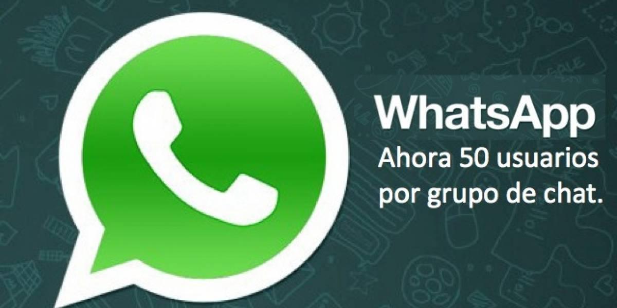 WhatsApp ahora permite chats grupales de hasta 50 personas