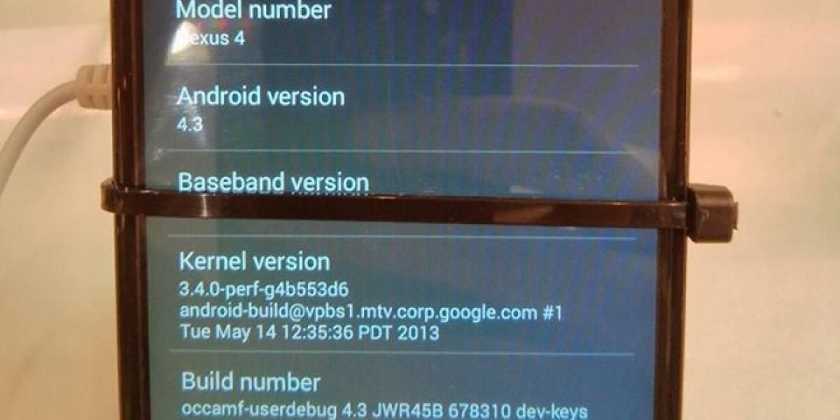¿Acaso Android 4.3 se deja ver en un Nexus 4?