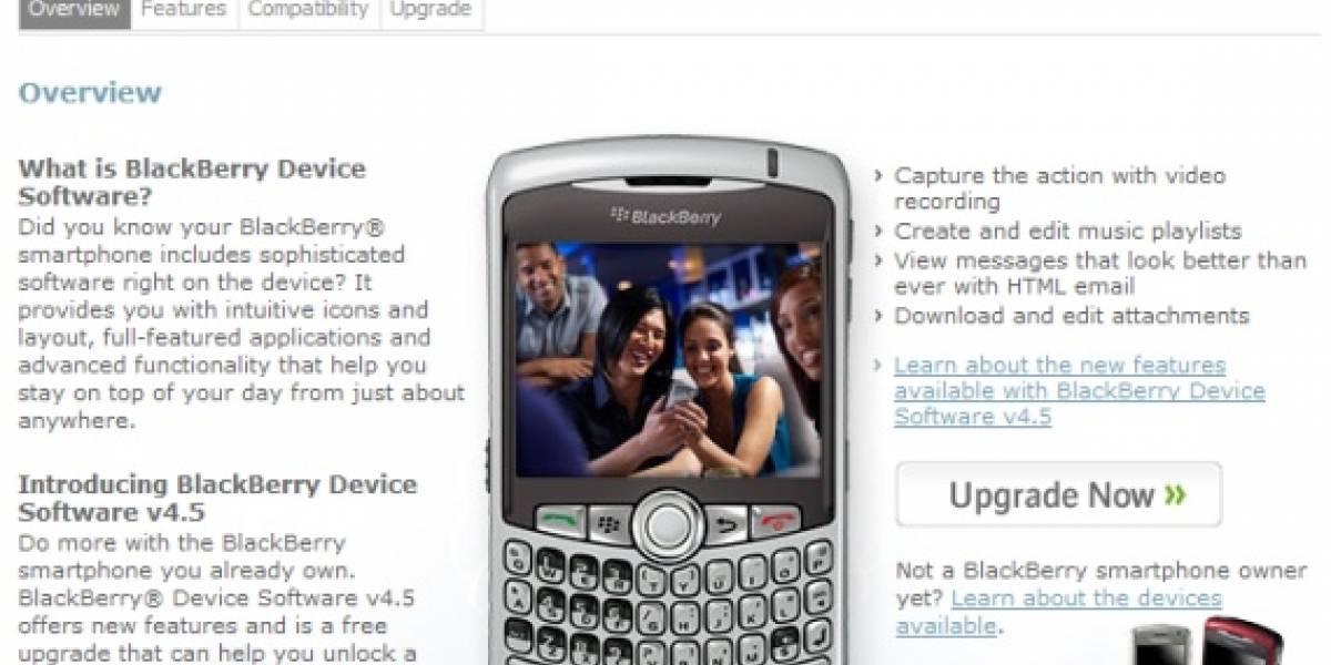 Ya se puede descargar el OS 4.5 oficial para la BlackBerry
