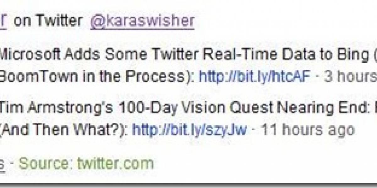 Bing muestra las actualizaciones de Twitter en sus búsquedas