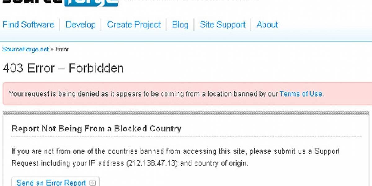 SourceForge.net bloquea el acceso a Cuba, Irán, Siria, Corea del Norte y Sudán