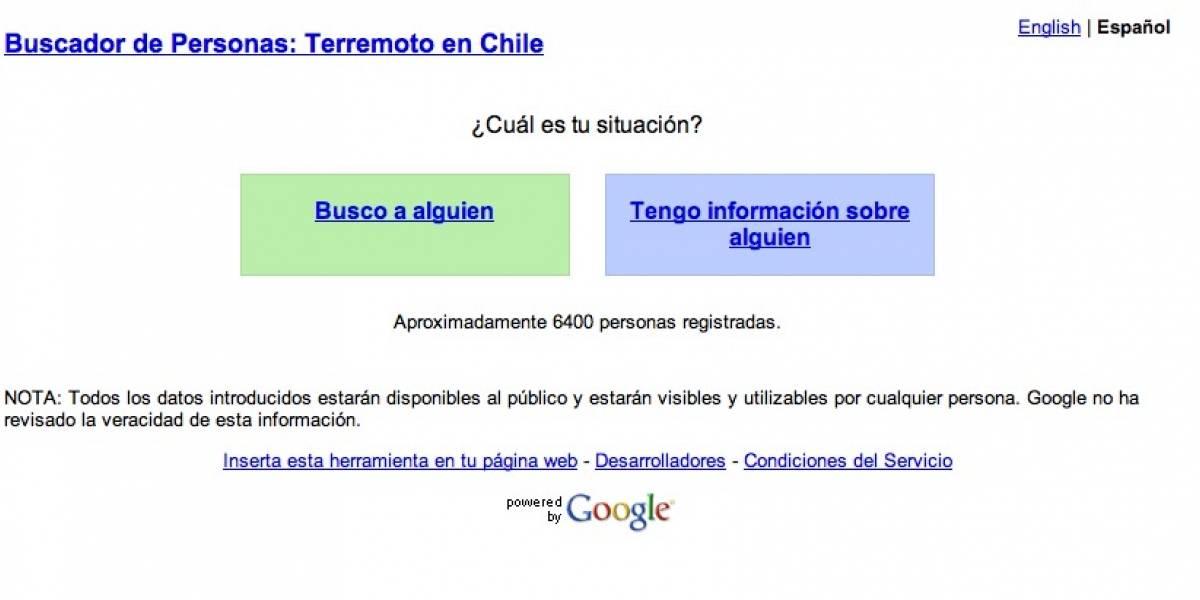 Google habilita sitio para buscar personas por terremoto en Chile