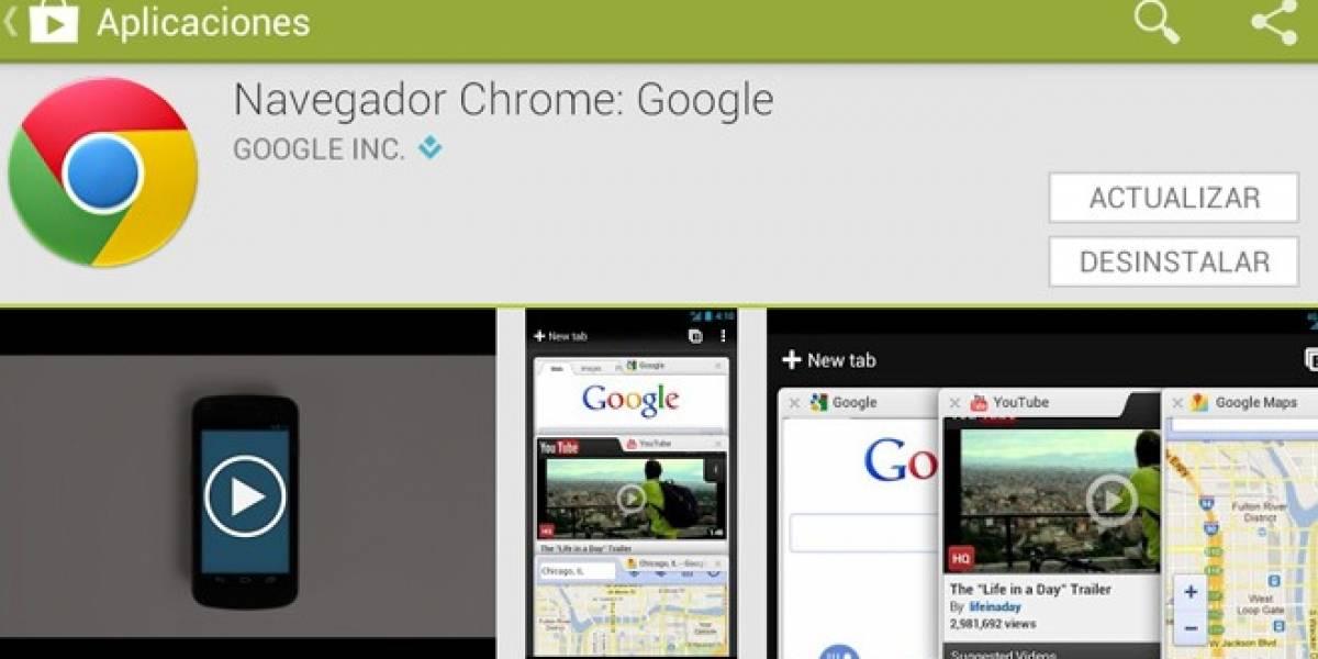 Navegador web Google Chrome se actualiza para Android