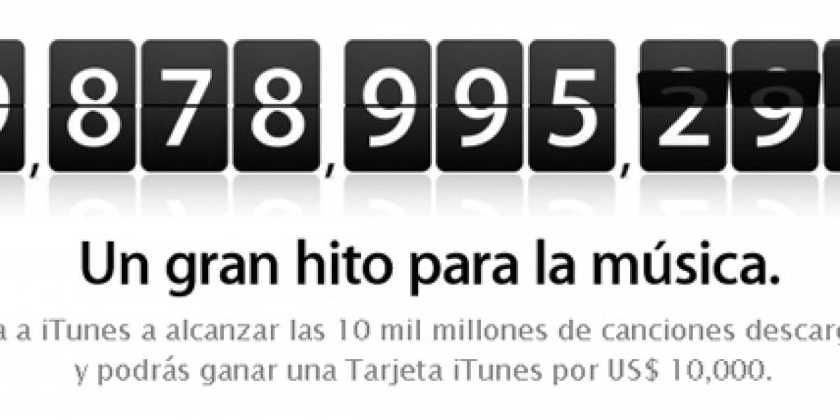 Apple regalará una Tarjeta iTunes de USD$10,000 a la descarga 10 mil millones