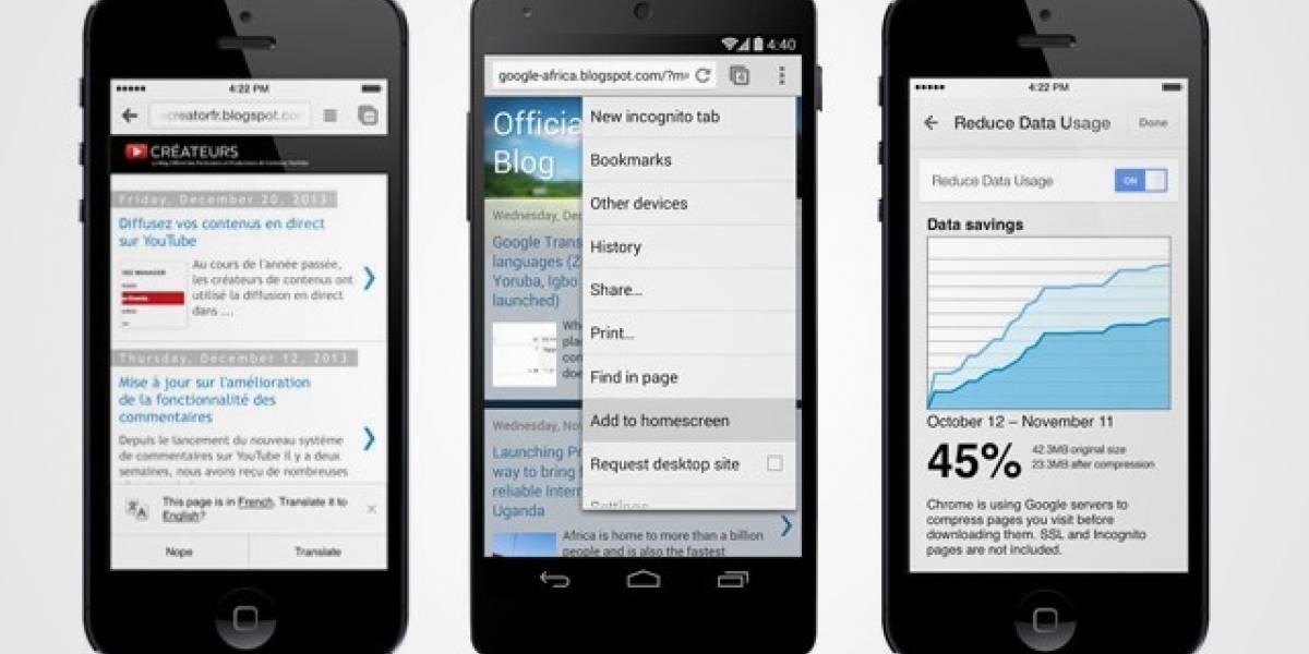 Google actualiza Chrome para Android y iOS permitiendo la compresión de datos