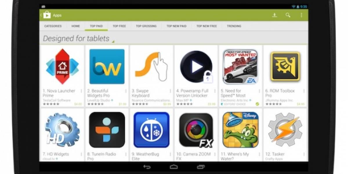 Google Play ahora destaca aplicaciones específicas para tablets