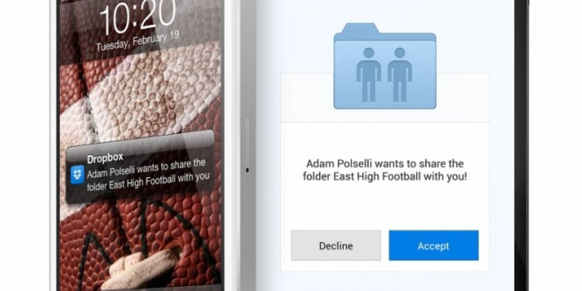 Dropbox para móviles ahora integra notificaciones sobre carpetas compartidas