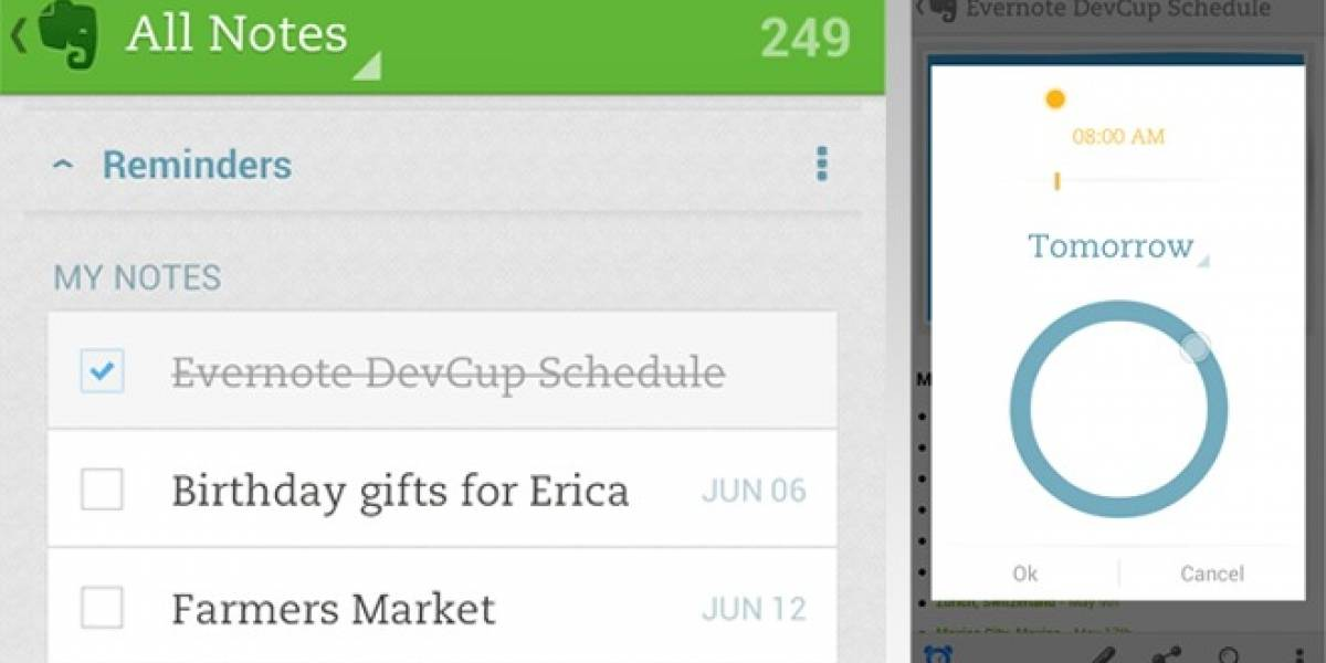 Evernote Reminders llega a Android