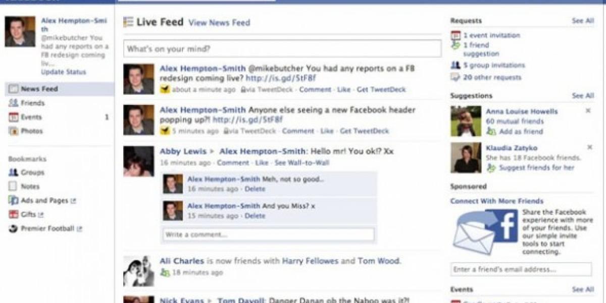Facebook prueba nuevo diseño de página