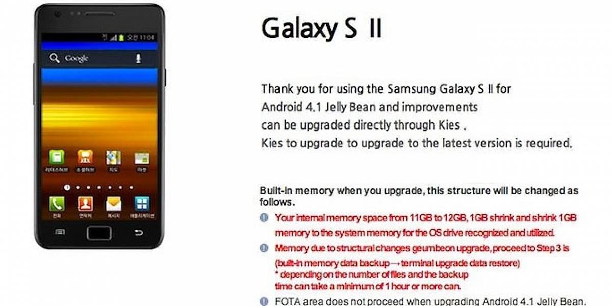 Samsung nos trae novedades sobre la actualización a Jelly Bean para el Galaxy SII