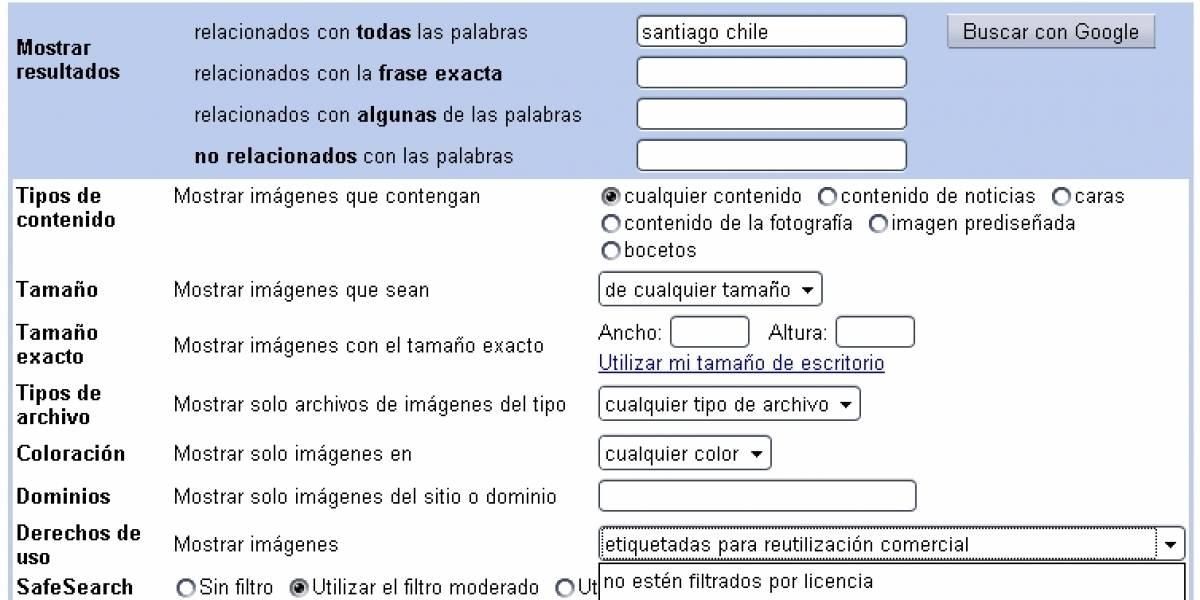 Buscador de imágenes de Google ahora permite filtrar según licencia de uso