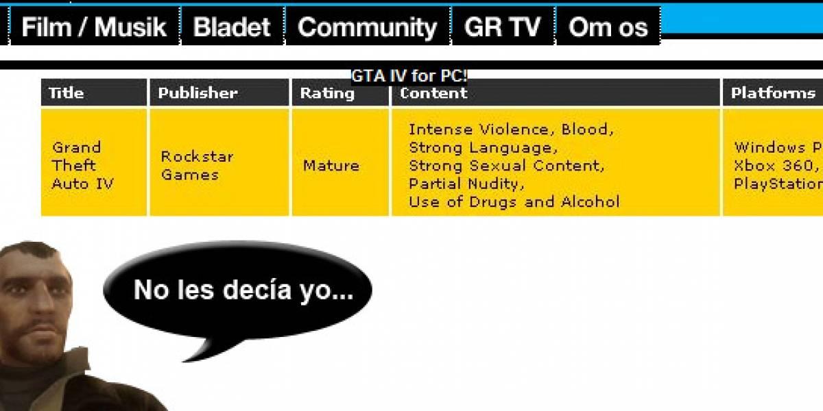 GTV IV, siguen los rumores para PC