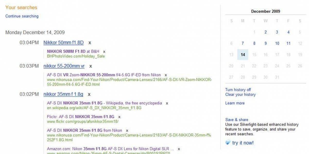 Microsoft modifica historial de visitas de Bing y provoca a Google