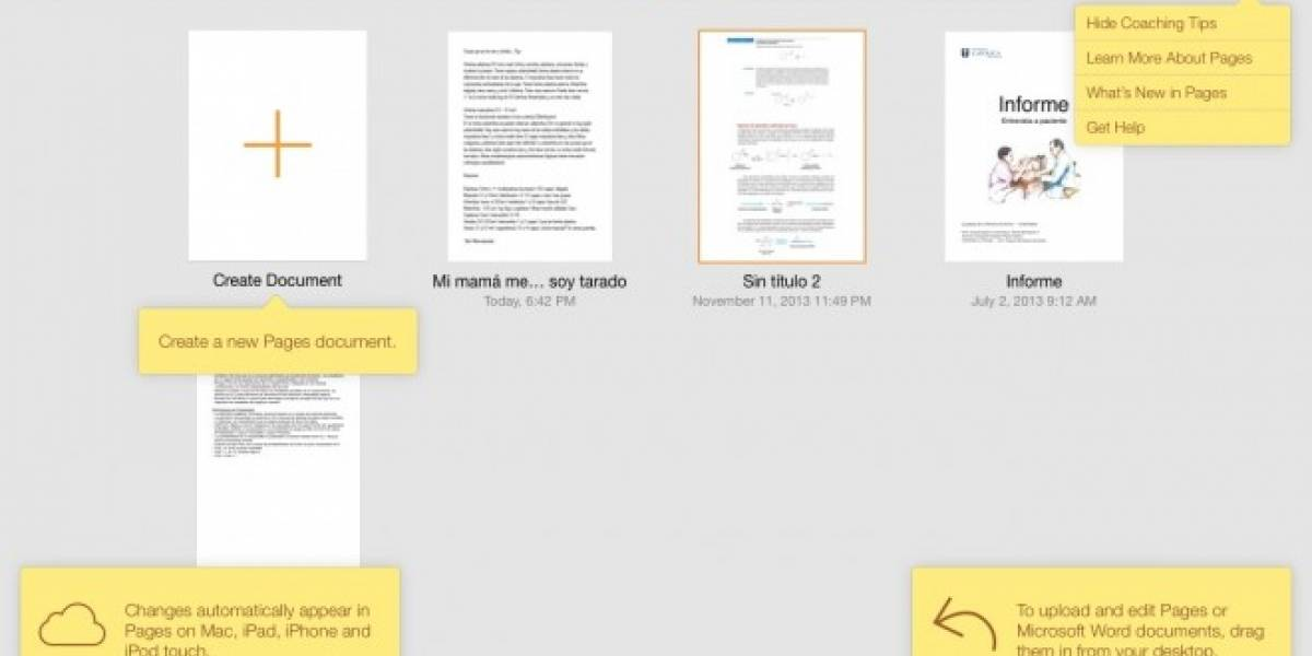 iWork (web) se actualiza y adquiere parcialmente el diseño de iOS 7