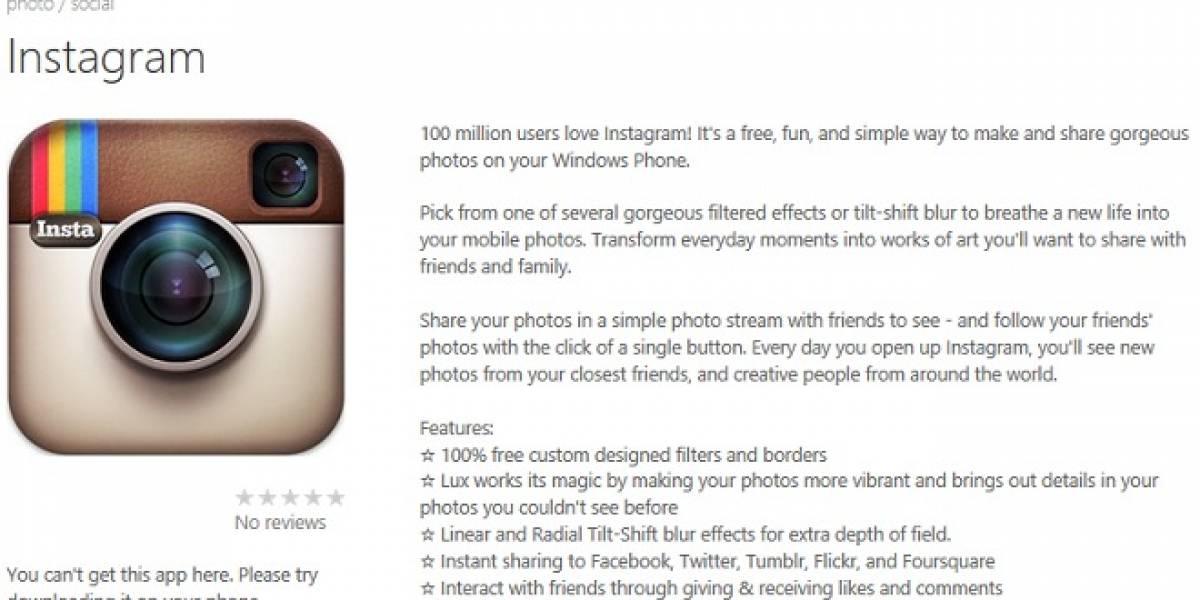Instagram para Windows Phone podría llegar en Mayo