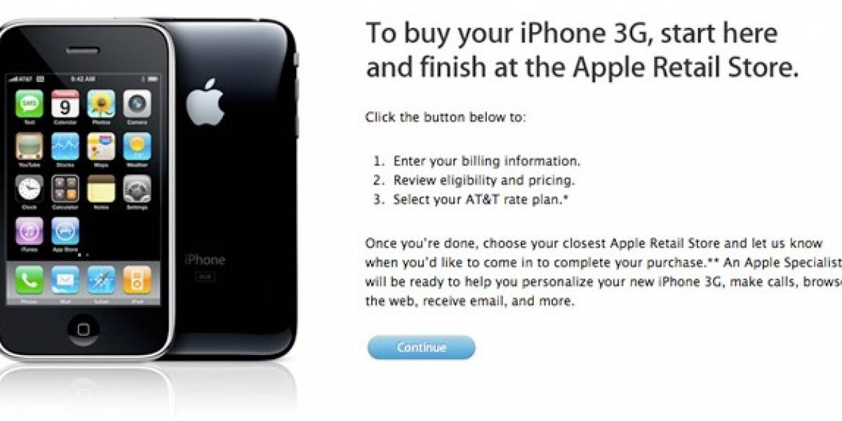 Apple lanza sistema de venta On-Line para iPhone 3G