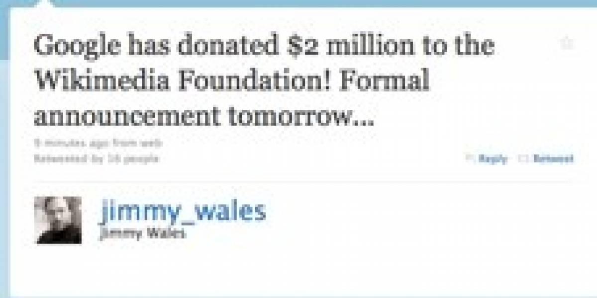 Google dona USD$2 millones a la Fundación Wikimedia