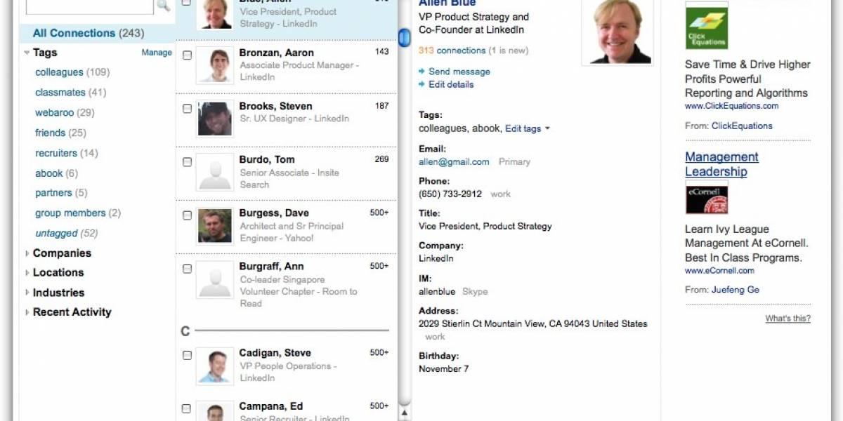 LinkedIn rediseña su interfase de búsqueda de contactos