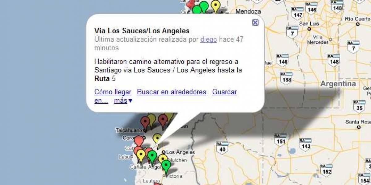 Terremoto Chile: mapa para informar sobre caminos y carreteras cortadas