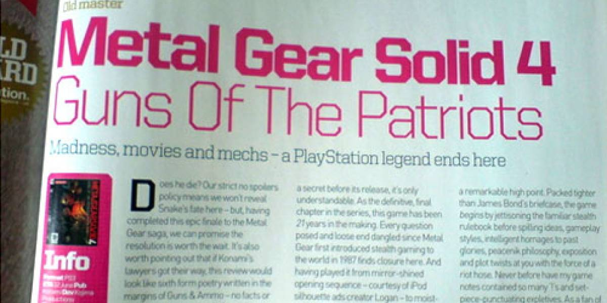 Primer review de Metal Gear Solid 4... PERFECTO!