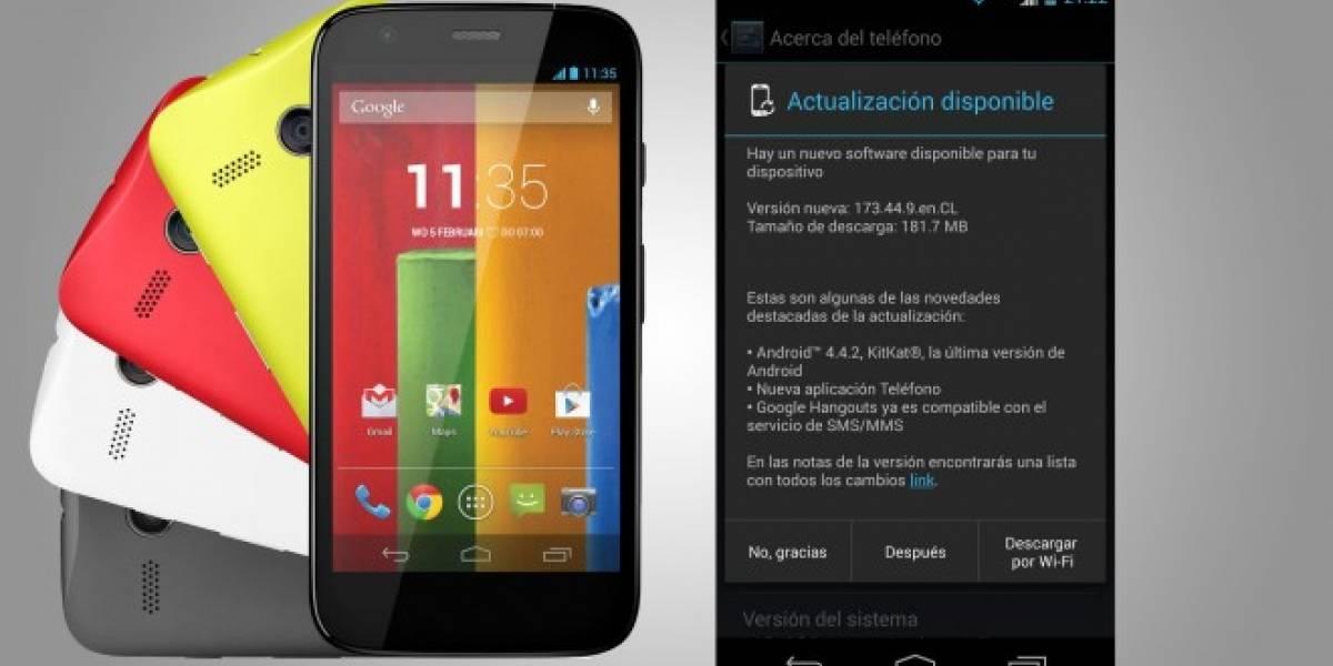 Motorola Moto G de Movistar Chile y Claro ya comienza a recibir a Android 4.4.2 KitKat