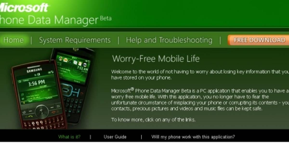 Microsoft Phone Data Manager: Administración hogareña de celulares