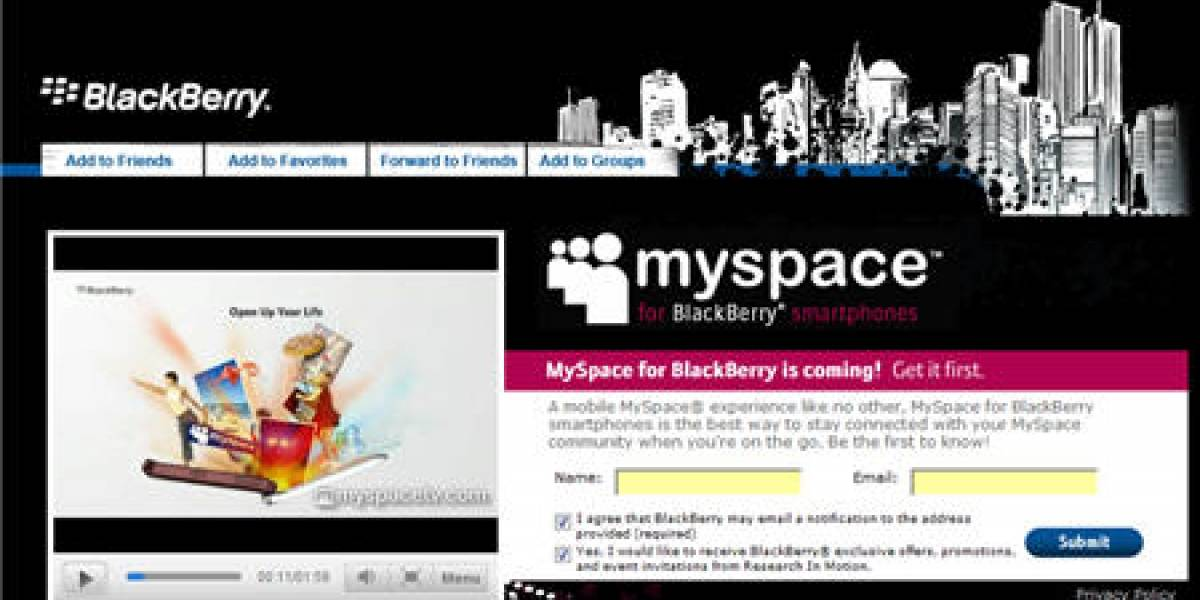 MySpace disponible para BlackBerry muy pronto
