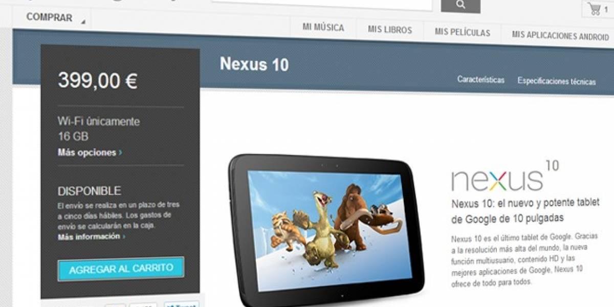 Google Nexus 10 vuelve a España