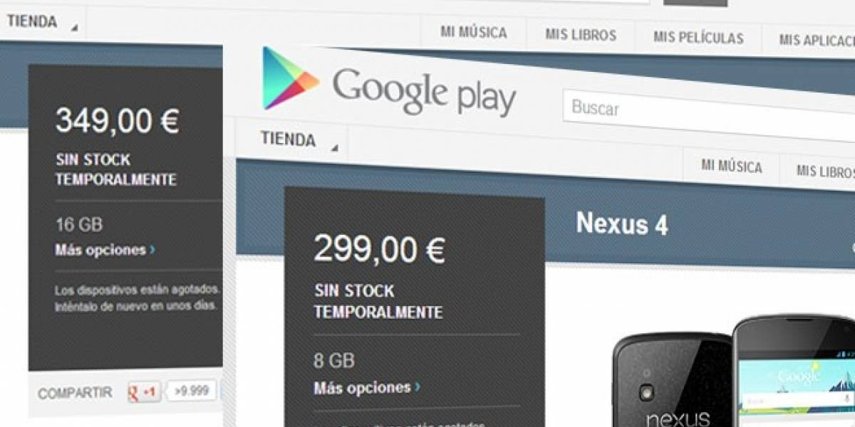 Nexus 4 se agota (de nuevo) en España: ¡Duró 15 minutos a la venta!
