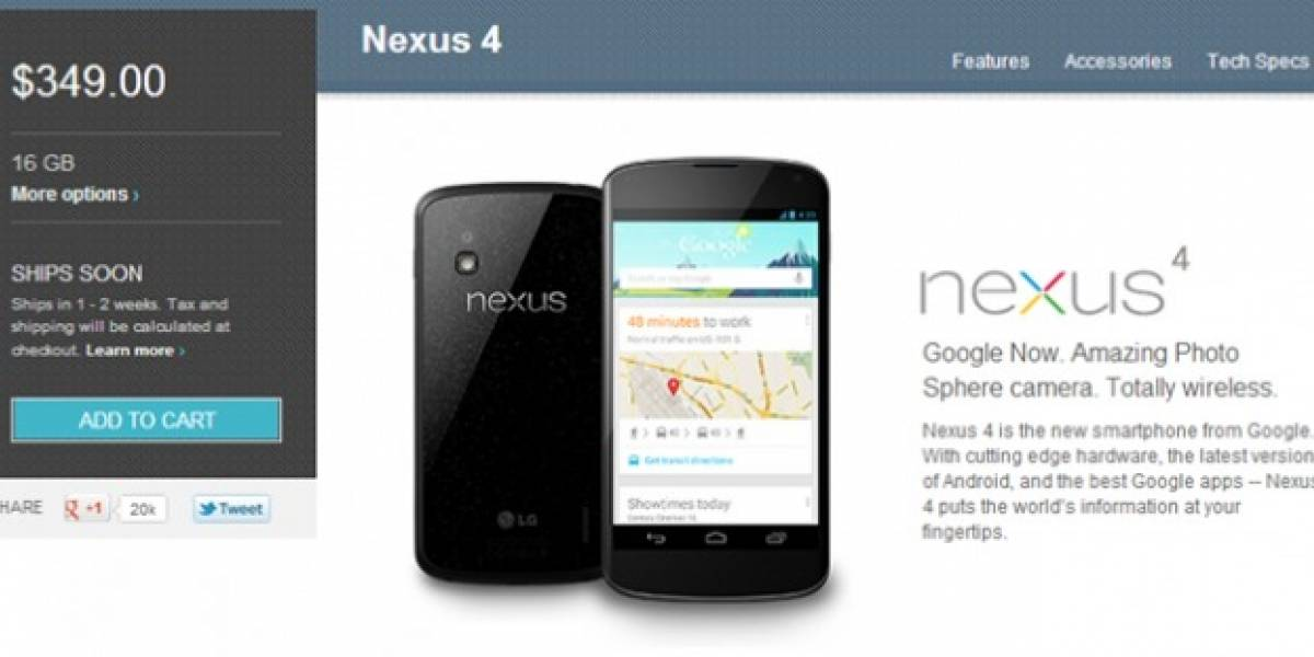 Nexus 4 disponible nuevamente en el Google Play Store de Estados Unidos