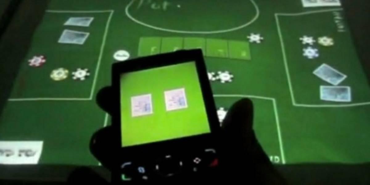 Poker usando mesa multitouch y celulares