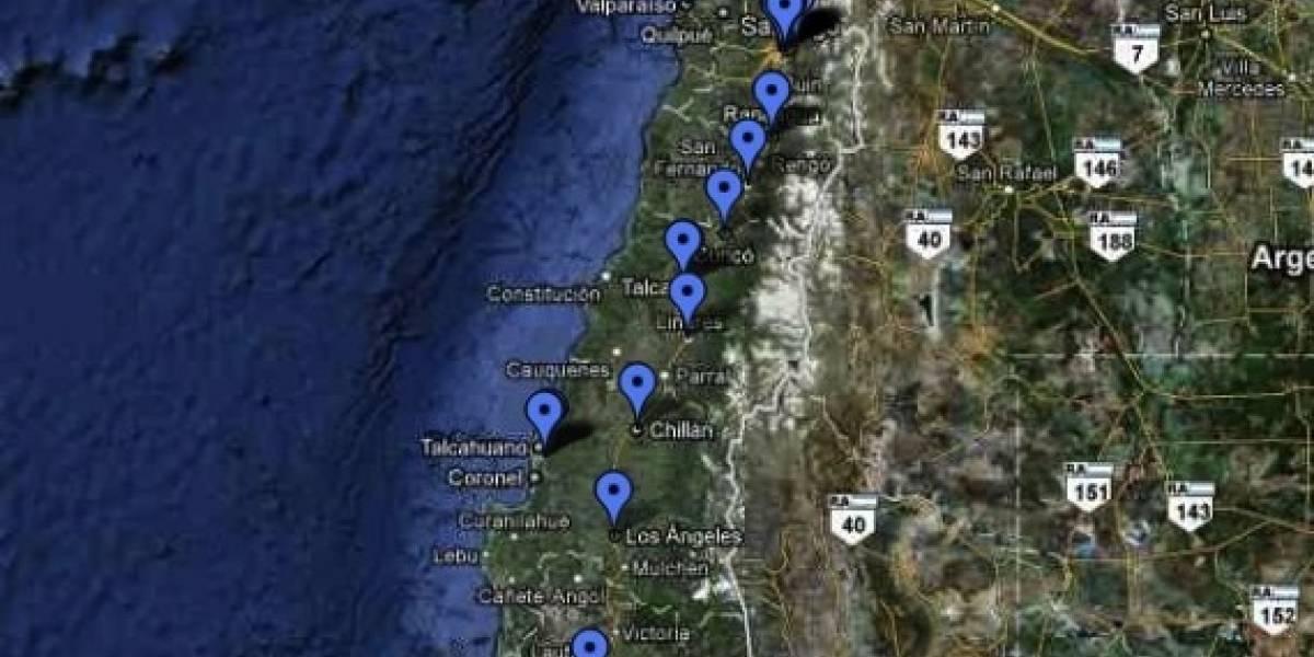 Terremoto Chile: Mapa de centros de ayuda