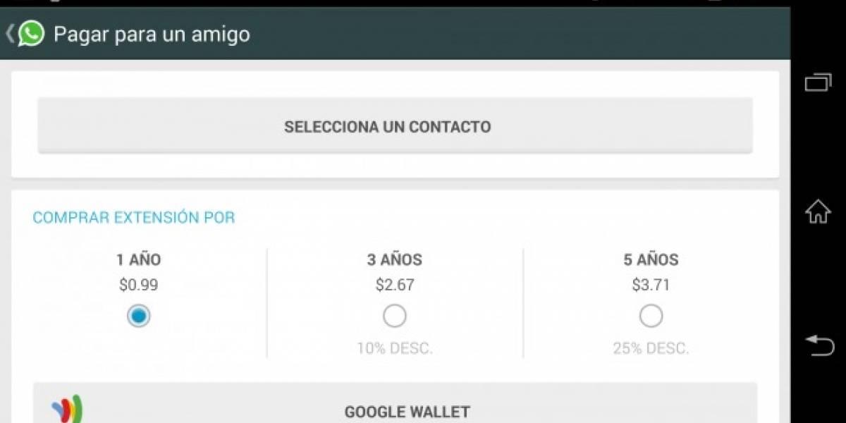 WhatsApp para Android ahora permite pagar la suscripción de un amigo
