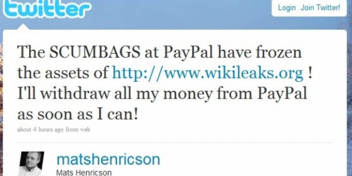 Paypal congela cuenta de Wikileaks