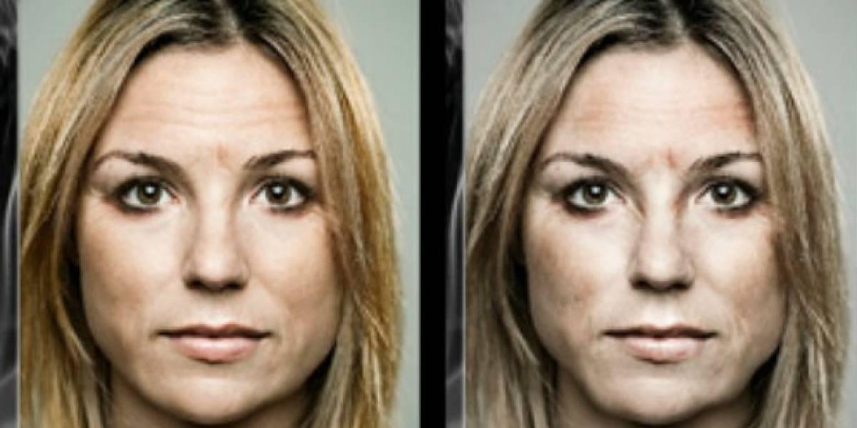 Descubre cómo será tu rostro en 20 años más si sigues fumando