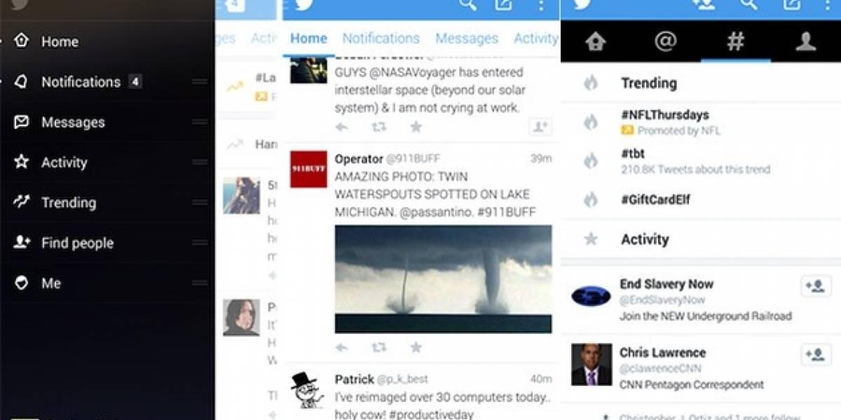 Twitter echa marcha atrás al re-diseño de su aplicación para Android